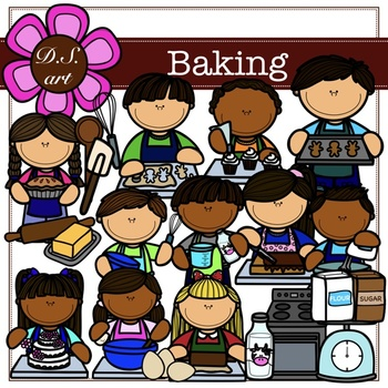 Baking Digital Clipart (color and black&white)