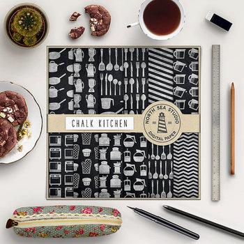 Baking Digital Paper, Kitchen Tool PatternsChalkboard Background