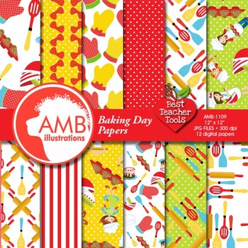 Digital Papers - Baking Digital Paper and backgrounds, AMB-1109