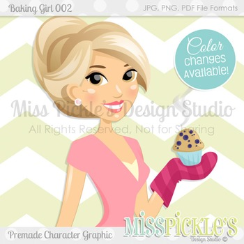 Baking Girl 002- Personal and Commercial Use Character Graphic