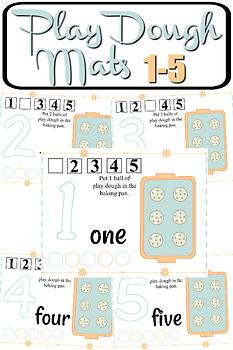 Baking Pan Play Dough Mats Numbers 1-5