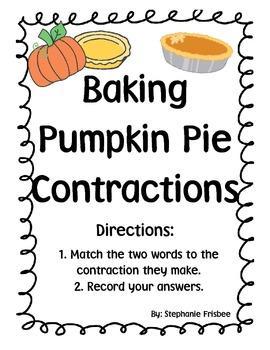 Baking Pumpkin Pie Contractions (fall)