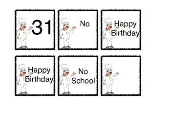 Baking Theme Calendar Number Sets