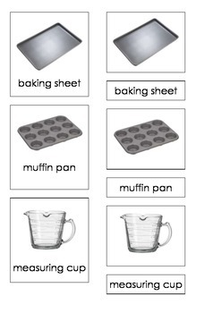 Baking Tools (3-Part Montessori Cards)