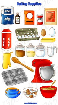 Baking Tools and Supplies Clipart 20 Pack PNG Format Digital Graphics