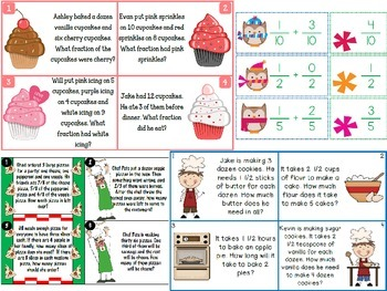 Fraction task cards: Whole Numbers, Fractions, Mixed Numbers