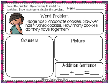 Baking Up Addition to 10 Word Problems | PDF & Digital for Distance Learning