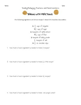 Baking With Fractions: Dividing/Multiplying Fractions and