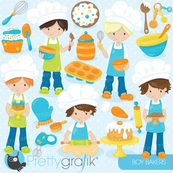 Baking boys clipart commercial use, vector graphics, digital - CL745