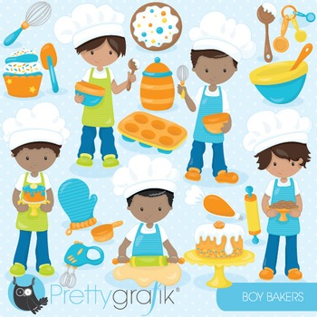 Baking boys clipart commercial use, vector graphics, digital - CL845