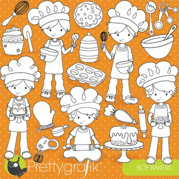 Baking boys stamps commercial use, vector graphics, images - DS745