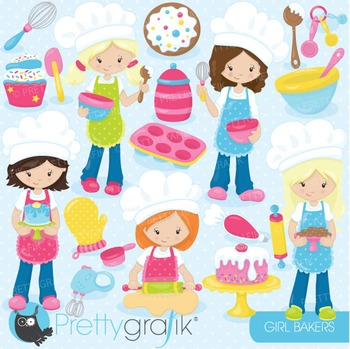 Baking girls clipart commercial use, vector graphics, digital - CL746