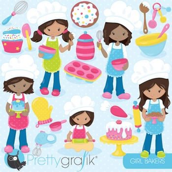 Baking girls clipart commercial use, vector graphics, digital - CL841