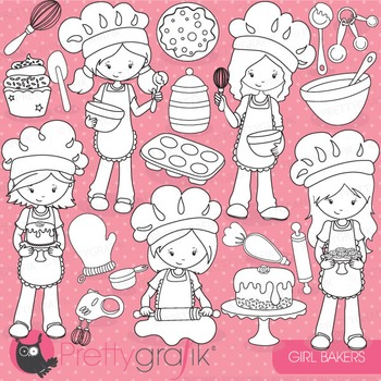 Baking girls stamps commercial use, vector graphics, images - DS746