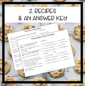 Baking with Equivalent Fractions - 2 Recipe Worksheets for Authentic Learning!