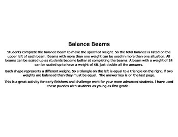 Balance Beams for decomposing numbers