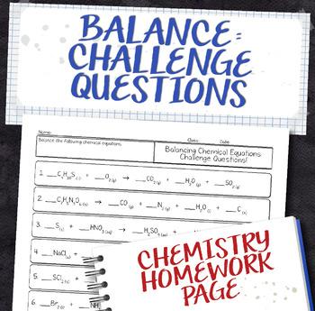 Balance Challenging Chemical Equations Homework Worksheet