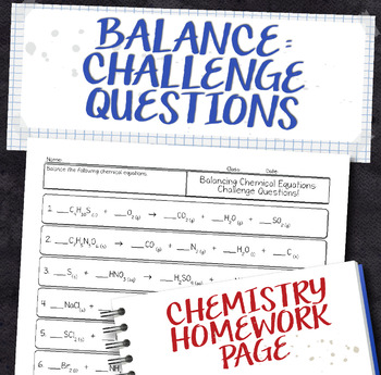 Balance Challenging Chemical Equations Homework Worksheet