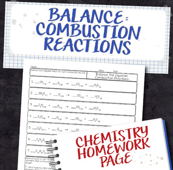 Balance Combustion Equations Homework Worksheet by Science With Mrs Lau
