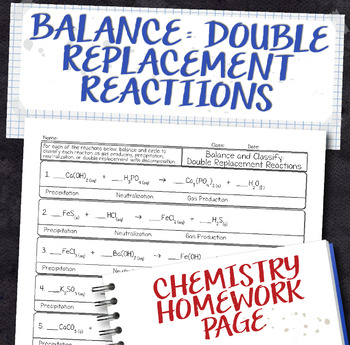 Balance Double Replacement Equations Homework Worksheet