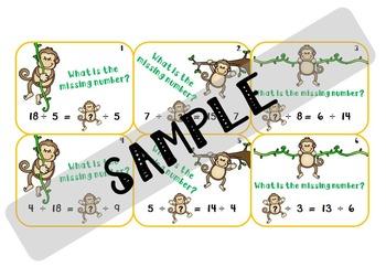 Balance Equation Task Cards - Division Missing Divisor and Divdend