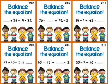 Balance Equation Task Cards