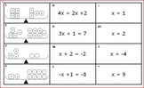 Balance Equations Card Match - Model, Equation, Solution - Algebra/PreAlgebra