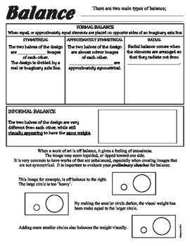 Balance (Principles of Art/Design) Worksheet