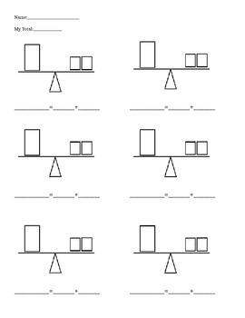 Balance Scale Addition Worksheet