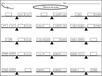 Balance Scale Decimals