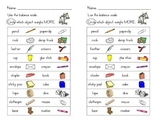 Balance Scale: Which Weighs More? - Worksheet and EASEL Activity