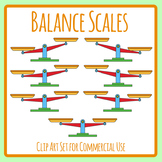 Balance Scales in Color for Comparing and Contrasting Weight Clip Art