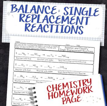 Balance Single Replacement Equations Homework Worksheet