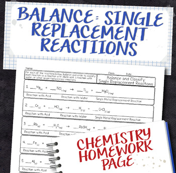 Balance Single Replacement Equations Homework Worksheet By Science