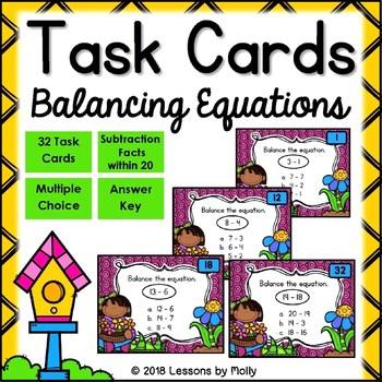 Balance Subtraction Equations within Ten and within Twenty Task Cards