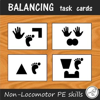 Balancing Task Cards - Non-Locomotor skills for PE