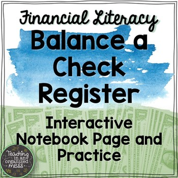 balance a check register math notebook page and practice tpt