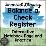 Balance a Check Register Math Notebook Page and Practice