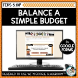 Balance a Simple Budget | Digital Math Task Cards