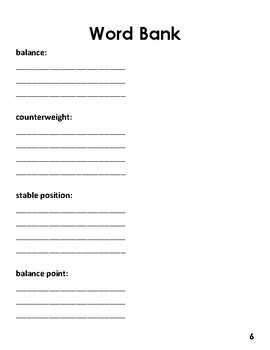 Balance and Motion Notebooking