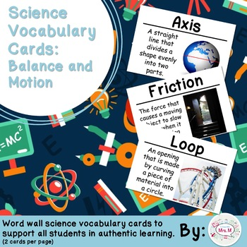 Balance and Motion Science Vocabulary Cards (FOSS Balance and Motion) Large