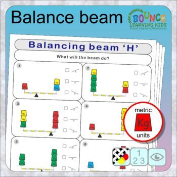 Balance beam (11 distance learning worksheets for Visual perception & Numeracy)