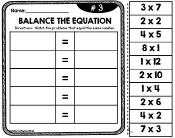 Balance the Equation | Multiplication Facts