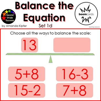 Balance the Equation Boom Cards Set 1d