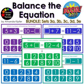 Balance the Equation Boom Cards Set 3 BUNDLE (Sets 3a, 3b, 3c, 3d, 3e)
