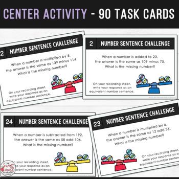 Balance the Equation - Equivalent Number Sentence Task Cards