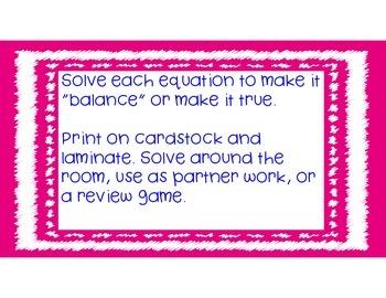 Balance the Equation - Standard Based