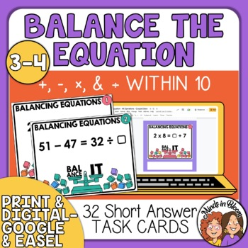 Balance the Equation Task Cards Addition, Subtraction, Multiplication & Division