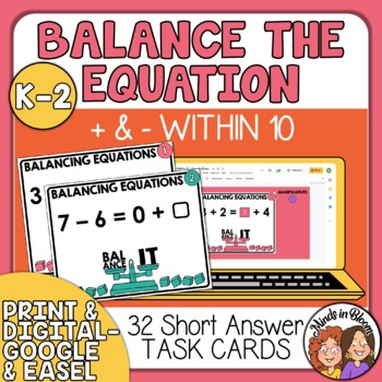 Balance the Equation Task Cards: Addition and Subtraction within 10