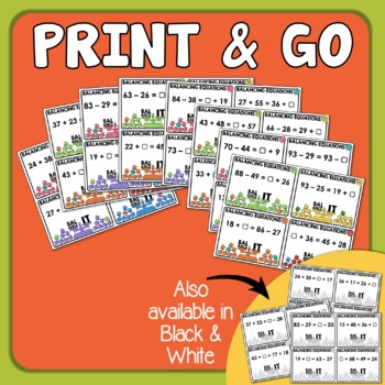 Balance the Equation Task Cards: Addition and Subtraction within 100 w/ Regroup